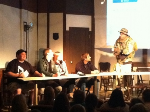 Tim (at right) and the Who Forted crew at the premier of The Bigfoot Hunter