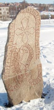 Frösö Runestone from the mid 11th century. In the legend from 1635 Storsjöodjuret is said to be the serpent depicted on the stone.