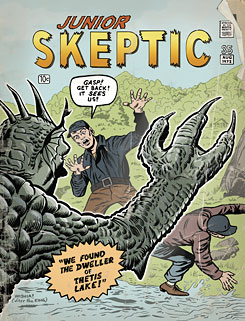 Thetis Lake monster cover of Junior Skeptic.