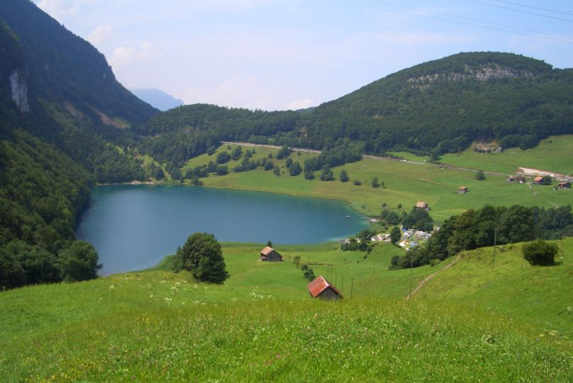 It's a VERY small lake. Lake Selisbergee, Switzerland.