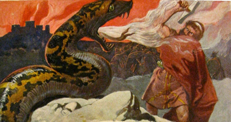 Thor battles the Midgard serpent.